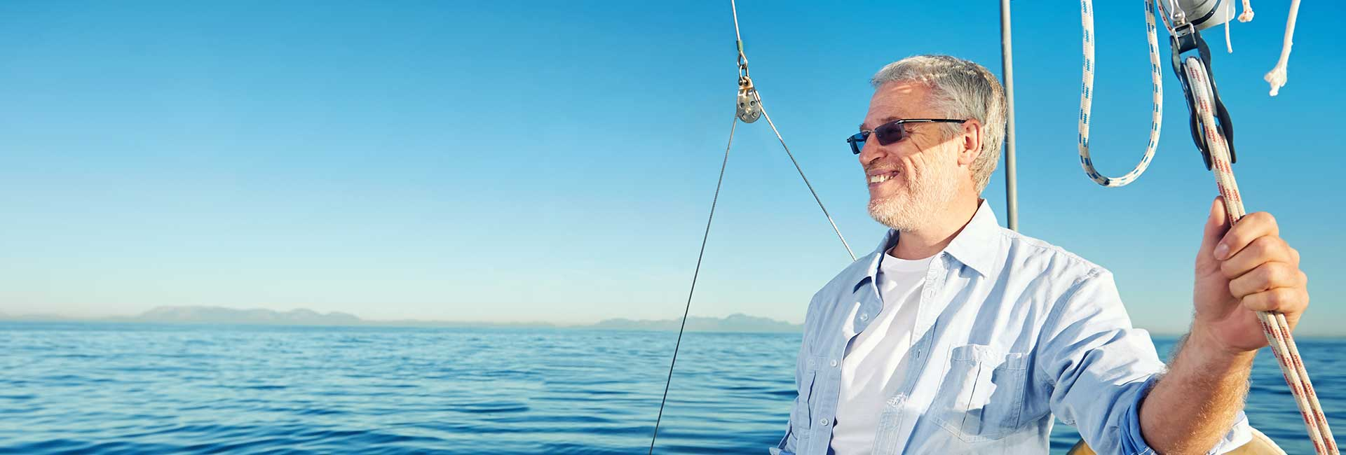 Man sailing on a yacht