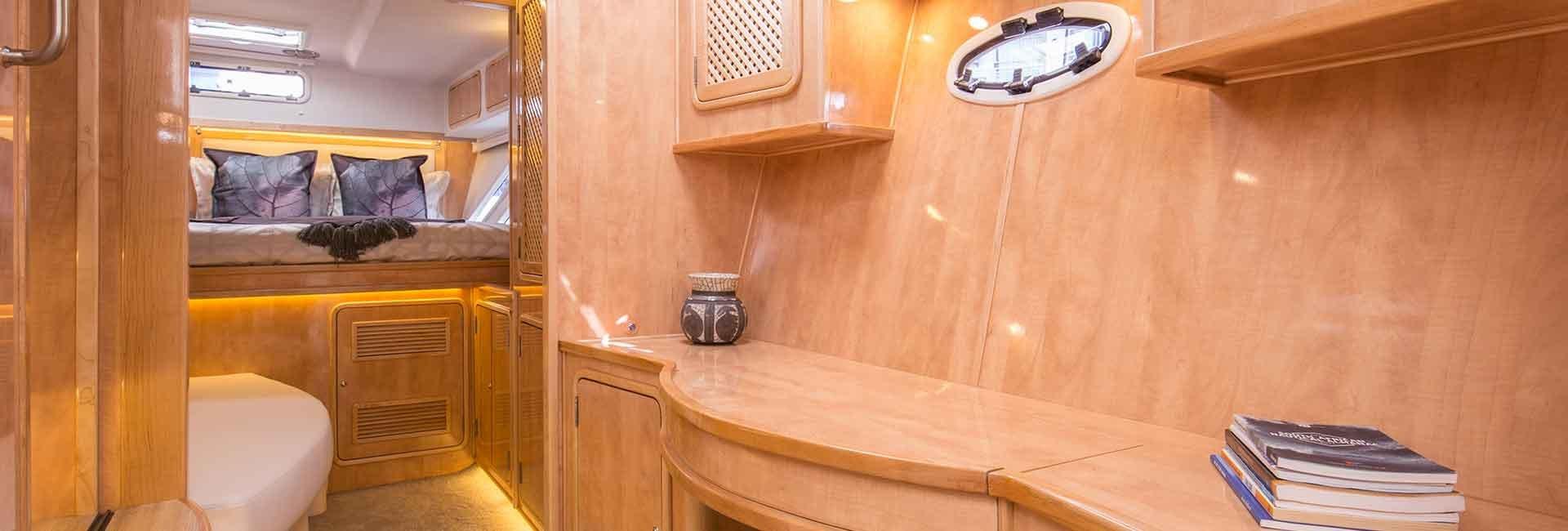 Inside a yacht