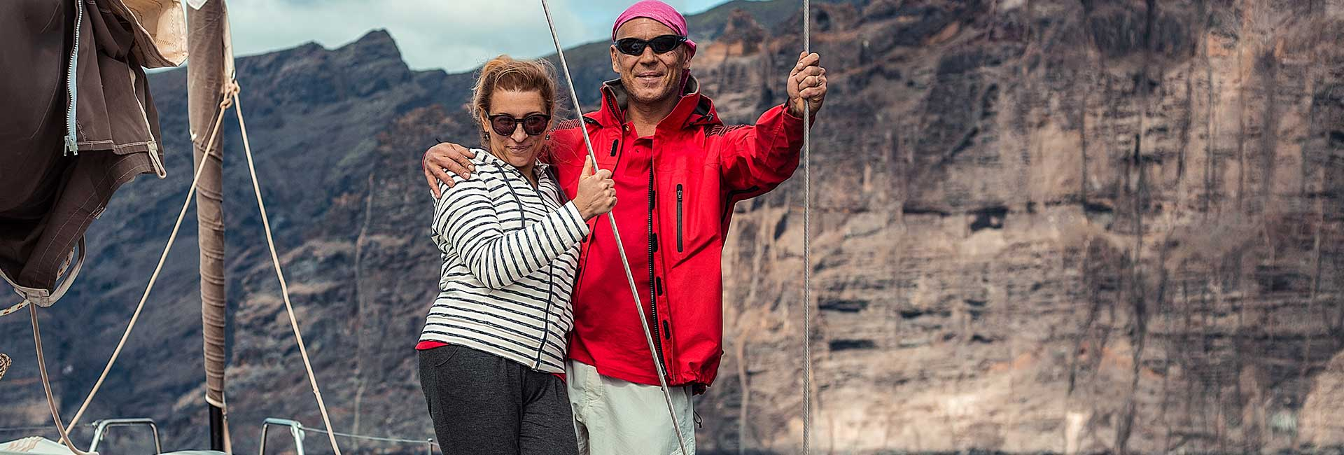 Couple with mountain background