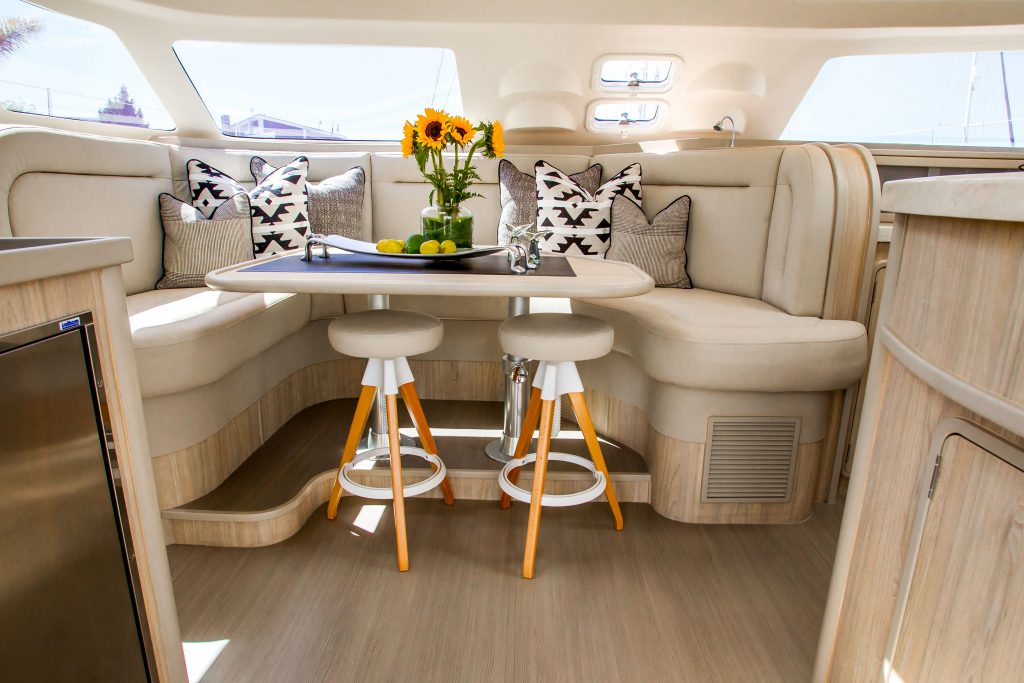 Inside the yacht
