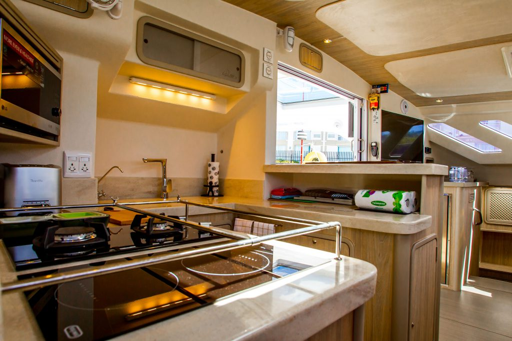 Yacht's kitchen area
