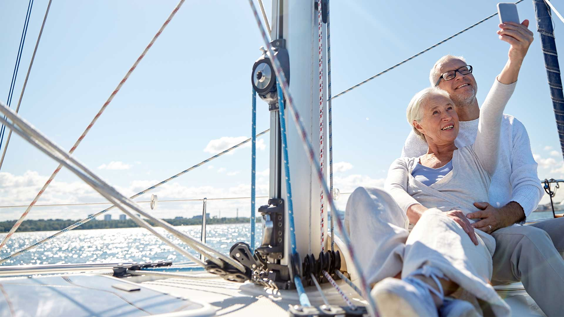 retired couple on a yacht