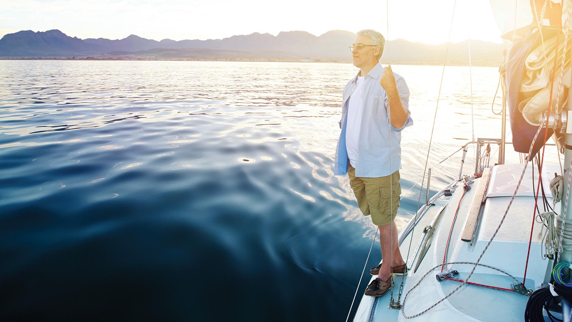 Man on a yacht